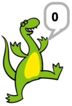 Dino (a dinosaur) saying 0