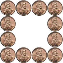 false square of 12 pennies