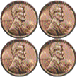 square of four pennies