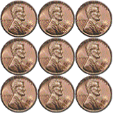 square of nine pennies