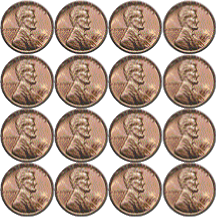 square of sixteen pennies